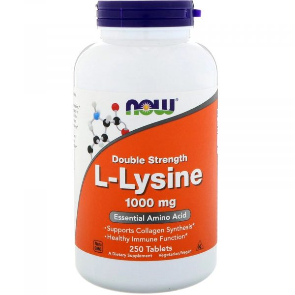 now foods llysine 1000 250 1 600x600 - L-Lysine- 1000 mg (250 tablets) - Now Foods