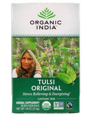 organic india tulsi 18bags 1 300x375 - Originele Tulsi Heilige Basilicum (Holy Basil) thee, cafeïne-vrij, 25 infusion thee zakjes (32.4 g) - Organic India