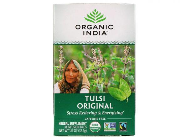 organic india tulsi 18bags 1 600x437 - Originele Tulsi Heilige Basilicum (Holy Basil) thee, cafeïne-vrij, 25 infusion thee zakjes (32.4 g) - Organic India