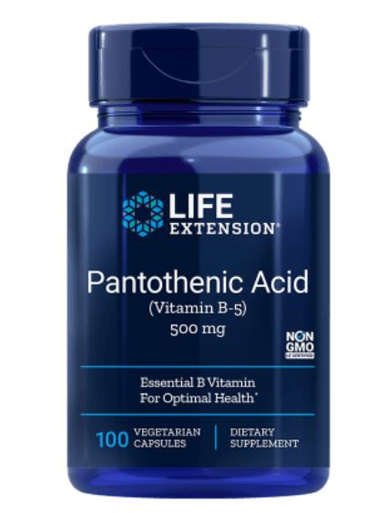 pantothenic acid vitamin b5 500 mg 1 - Pantotheenzuur (Vitamine B5) 500 Mg 100 Capsules - Life Extension