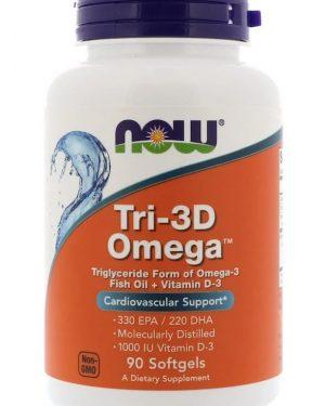tri 3d omega 330 epa220 dha 90 softgels   now foods1 300x375 - Tri-3D Omega 330 EPA/220 DHA (90 softgels) - Now Foods