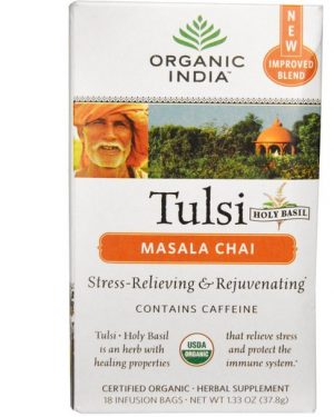tulsi masala chai organic india 1 300x375 - Tulsi Heilige Basilicum thee, Masala Chai, 18 infusie zakjes (37.8 g) - Organic India