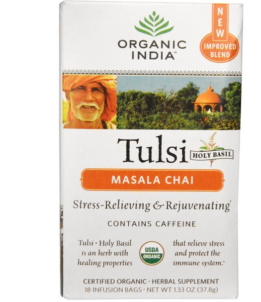 tulsi masala chai organic india 1 - Tulsi Heilige Basilicum thee, Masala Chai, 18 infusie zakjes (37.8 g) - Organic India