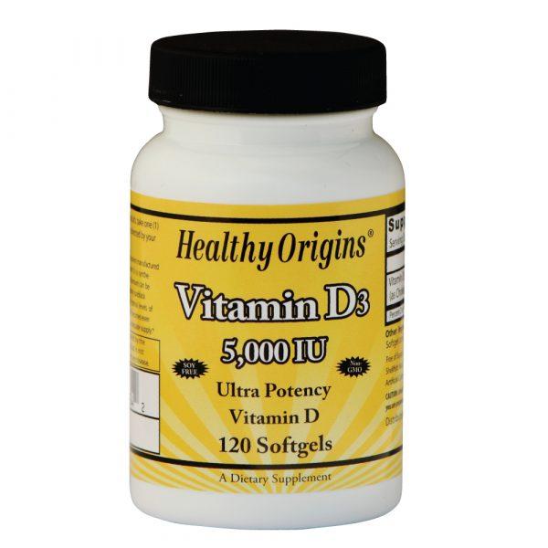 vitamin d3 5 000 120 s 600x600 - Vitamine D3, 5000 IE (120 Softgels) - Healthy Origins