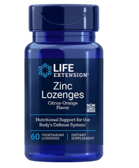 zinc lozenges  natural citrus orange flavor le 1 - Zinc Lozenges- Natural Citrus-Orange Flavor (60 Veggie Lozenges ) - Life Extension