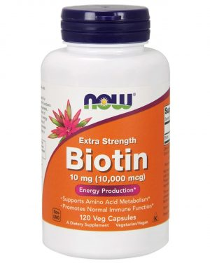 now foods biotin 120 1 300x375 - Biotin Extra Strength 10 mg (10.000 mcg) (120 Vegetarian Capsules) - Now Foods