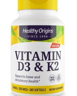 vitamin d3 k2 50 mcg1 300x375 - Vitamin D3 & K2, 50mcg/200mcg, 180 Softgels, Healthy Origins